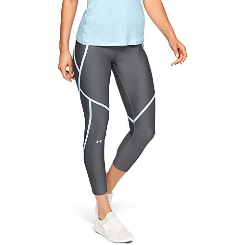 Under Armour Women's HeatGear Armour Edgelit Ankle Crop Leggings, Pitch Gray (012)/Metallic Silver, XX-Large