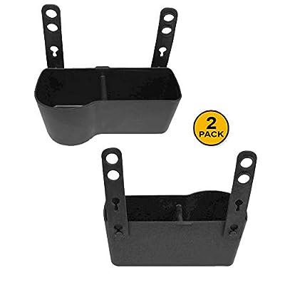 JAVOedge [2 Pack], Black Over The Back Car Seat Dual Cup and Food Holder for Kids, Storage Plus Bonus Drawstring Bag: Automotive