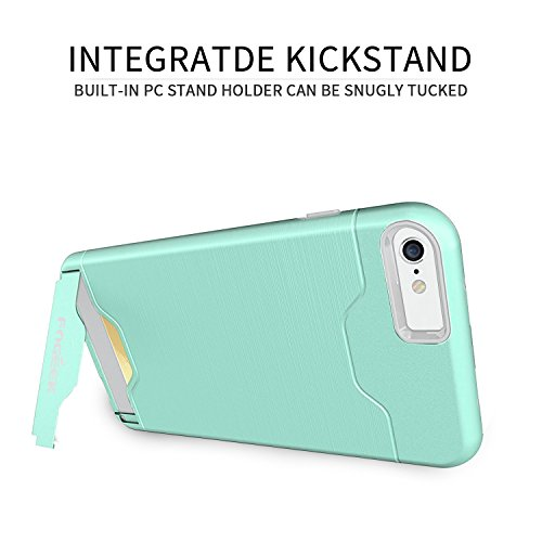 iPhone 6 Plus Case : Fogeek Shockproof PC+TPU Dual Layer Protection Card Slot Holder Hybrid Cover with Kickstand for iPhone 6 Plus(Mint)
