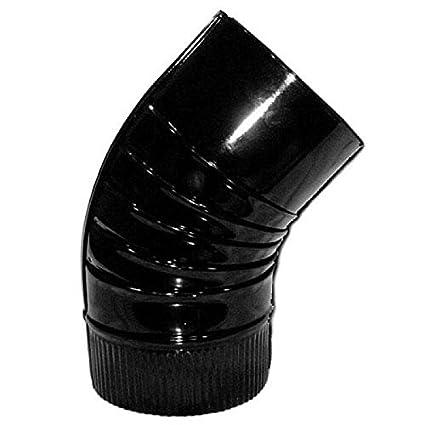 WOLFPACK 22011127 Codo Estufa Color Negro Vitrificado De 200mm 45°
