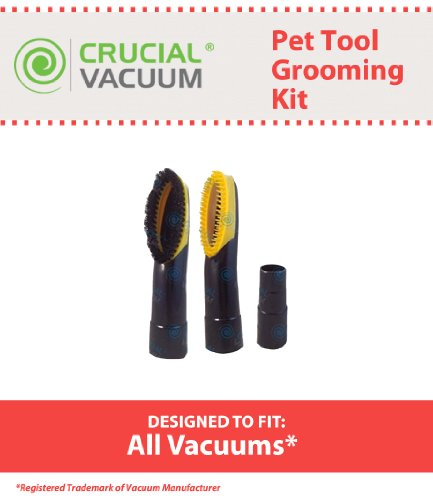 2 Vacuum Cleaner Pet Grooming Groomer Brush Attachment Tools For Small Pets - Fits ALL Vacuum Cleaners, Designed & Engineered by Crucial Vacuum (Vacuum Cleaner Pet Attachment compare prices)