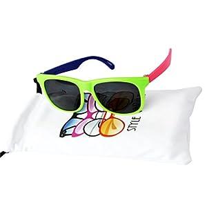 Kd3006-op Kids Babies (0~12 Month) 0~1year Old wayfarer Sunglasses (B1843F Green/Pink/Blue)