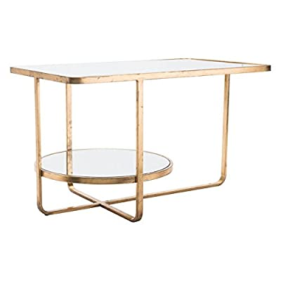 """Zuo Geo Coffee Table, Gold - Overall dimensions: 29.9"""" W x 18.9"""" D x 18.1"""" H Made of Steel and mirrored Glass Steel base has a rich gold Finish - living-room-furniture, living-room, coffee-tables - 41az0AAv%2BTL. SS400  -"""