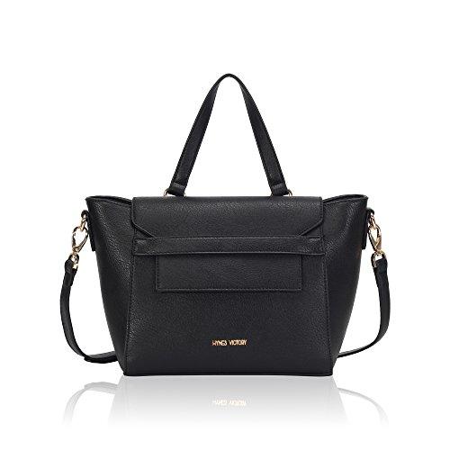 - Hynes Victory Business Classic Medium Women Flap Tote Bag (Black+)