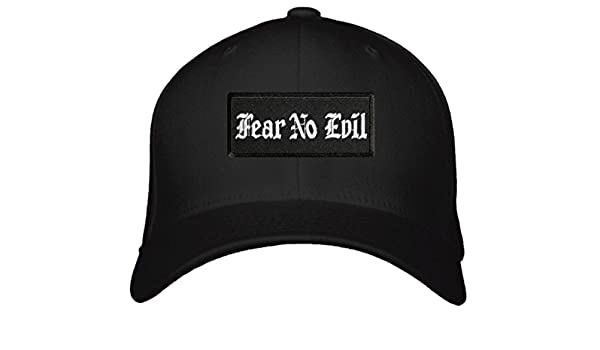 0079a1c08b1 Fear No Evil Hat - Adjustable Old English Font Cap (Black White) at  Amazon s Sports Collectibles Store