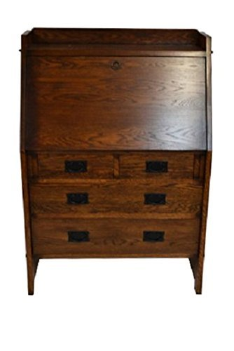 1c2f5bdf8015 Crafters   Weavers Mission Solid Oak Secretary Desk with Drawers and  Display Shelves