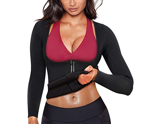 Women Sauna Suit Waist Trainer Neoprene Shirt for Sport Workout Weight Loss Corset Hot Body Shaper Top (M, Black#2 Long Sleeves)