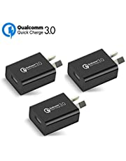 Australia 18W Quick Charge 3.0 Wall Charger, Qualcomm Quick Charge 3.0 USB Wall Charger Portable Adapter(Quick Charge 2.0 Compatible) for iPhone, iPad, Samsung Galaxy/Note and More (3Pcs Black)