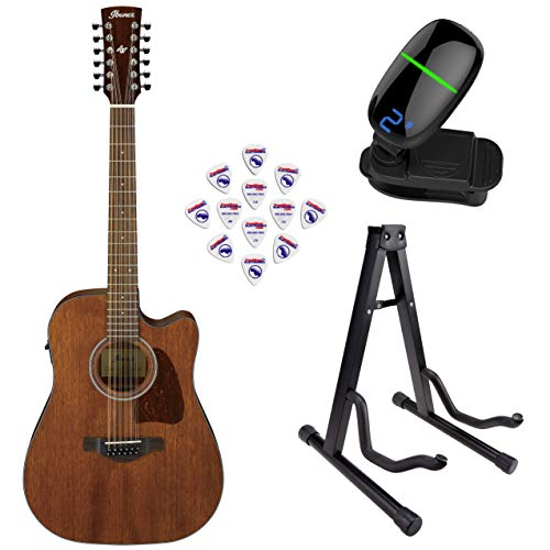 Ibanez AW5412CE Artwood Series 12-String Acoustic/Electric Guitar (Open Pore Natural) with Front Row Guitar Stand, tuner and pick sampler