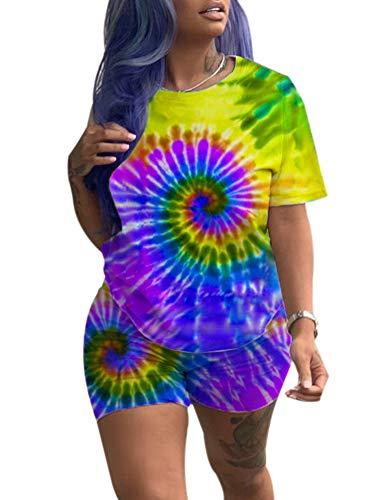 Womens Multi-Spiral Tie Dye T-Shirt Top High Waist Bodycon Short Pants 2 Piece Outfit S Yellow