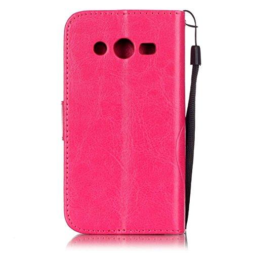 SRY-Funda móvil Samsung Samsung G386f estuche, caja de cuero de la PU Premium Folio Flip estuche caso de la caja de la flor en relieve para Samsung G386f ( Color : Pink , Size : Samsung G386f ) Rose