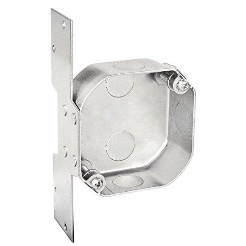 (1 Pc, Weatherproof Outdoor 4 In. Octagon Fan Box, 1-1/2 In. Deep, (3) 1/2 In. Side Knockouts; (5) 1/2 In. Bottom Knockouts, w/Bracket, G60 Galvanized Steel; Powder Coated Silver)