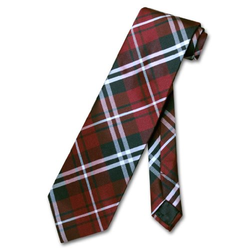 Vesuvio Napoli NeckTie Black Burgundy White PLAID Design Men's Neck Tie