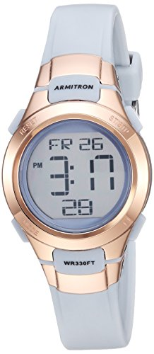 Armitron Sport Women's 45/7012PBL Rose Gold-Tone Accented Digital Chronograph Powder Blue Resin Strap ()