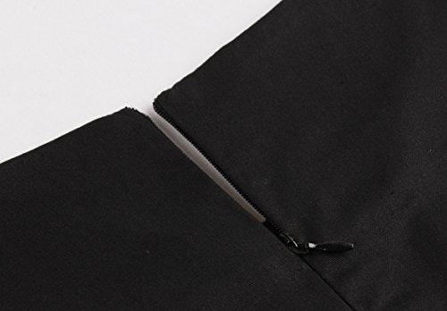 b8b876407c70f Broderie Manches Flamant Soirée Robe Imprimé Noir De Chic Vkstar® Col Mi  Vintage Bateau Femme ...