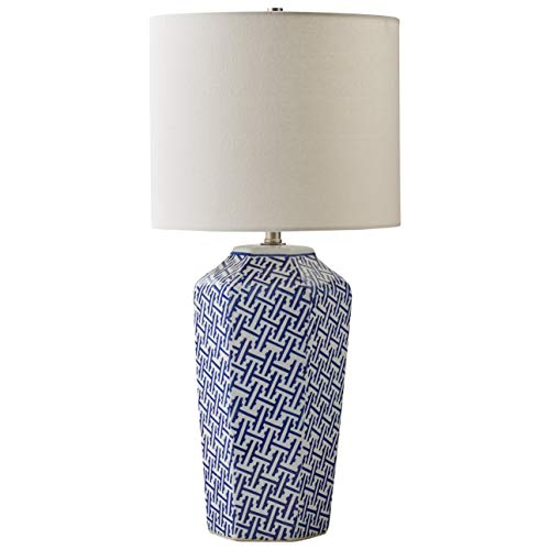 (Stone & Beam Geo Pattern Ceramic Nightstand Table Lamp With LED Light Bulb - 12 x 12 x 26 Inches, Blue and White)