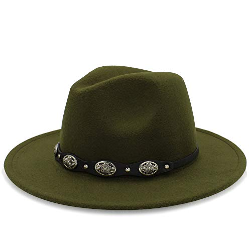 Fashion Wool Fedora Hat Wide Brim Jazz Church Godfather Jazz Cap for Autumn Cloche Steampunk Hat Women Men Red ()