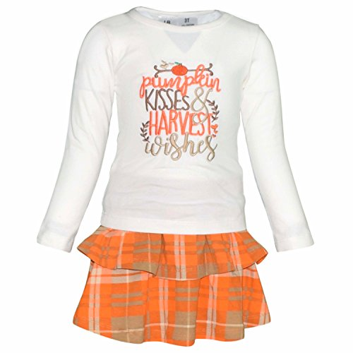Unique Baby Girls Pumpkin Kisses Plaid Fall 2 Piece Skirt Set (3t) (Tiered Top Doll Baby)