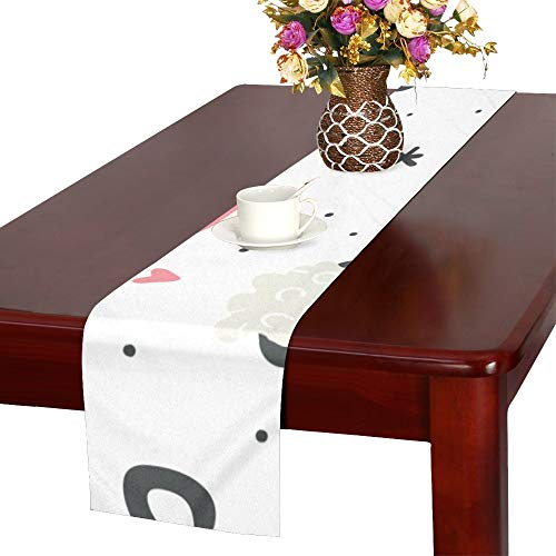 WUwuWU Mug Home Supplies Hand-Painted Table Runner, Kitchen Dining Table Runner 16 X 72 Inch for Dinner Parties, Events, - Runner Cafe Latte Table