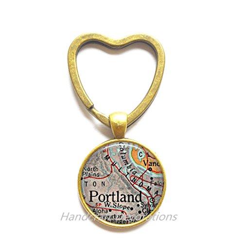 (Charming Heart Keychain,Portland, Oregon map Key Ring, Portland map Heart Keychain, Portland map Key Ring, map jewelry,AO223)