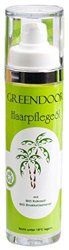 GREENDOOR Haarpflegeöl - natürlicher Hitzeschutz mit BIO Brokkolisamenöl, Haarpflege mit BIO Kokosöl & ohne Silikone, 50ml - Haaröl Naturkosmetik