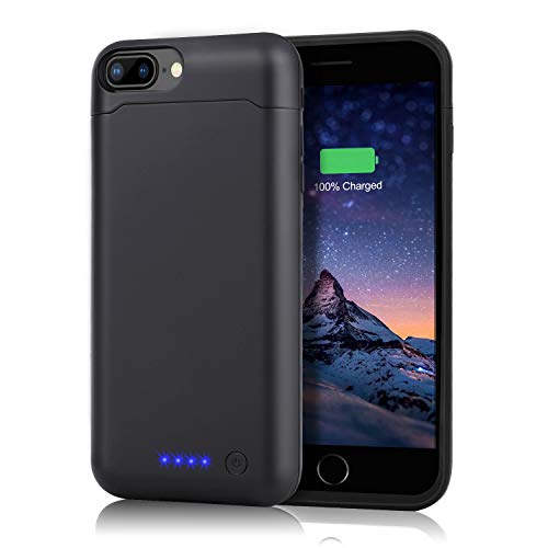 Battery Case for iPhone 7 Plus / 8 Plus, [ Upgraded ] 8500mAh Rechargeable Portable Charging Case for iPhone 8 Puls / 7 Plus (5.5inch) Extended Protective Charger Case Battery Pack -Black ()
