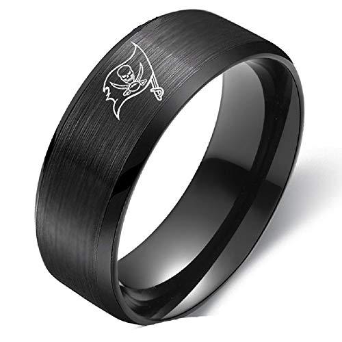 (FlyStarJewelry Tampa Bay Buccaneers Ring Football Black Titanium Steel Men Sport Band Size 6-13 (6))