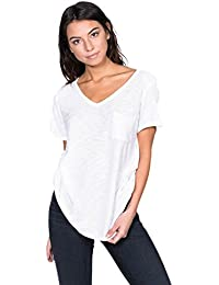 Womens Casual Slub Burnout Sexy V-Nk T-Shirt Top w/Pocket