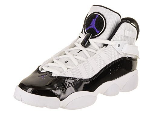 Jordan Nike Kids 6 Rings BG White/Black Dark Concord Clear Basketball Shoe 7 Kids US by Jordan