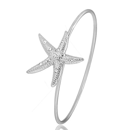 GUANDU Fashion Dainty Crystal Starfish Bracelet for Women Teen Girls (Silver) by GUANDU