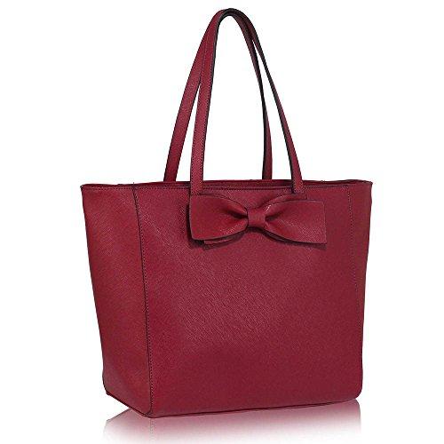 Women Designer Shoulder Top Handle Trendy Tote Bag With Front Bow Tie Faux Leather Handbag
