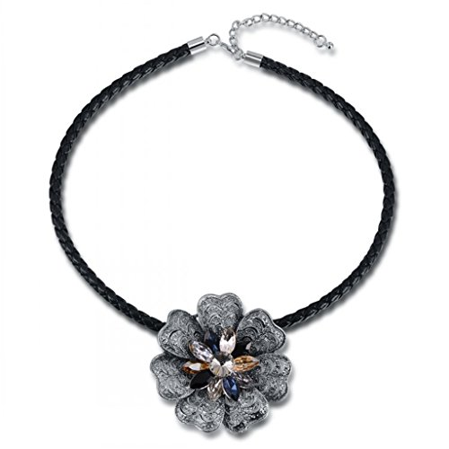 Bohemia White Gold Austrian Crystals large multicolor Flower Necklace 20