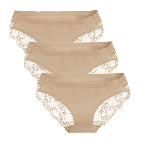 Liqqy Women's 3 Pack Low Rise Cotton Lace Coverage Bikini Panties Underwear (X-Large, Beige)