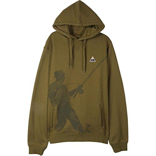 LRG Mens Fish Lyfe Hoody Pullover Sweatshirts Medium Olive
