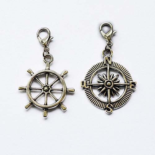 Silver Compass Rudder Charms Pendant Steering Wheel Charms,Silver Compass, Rudder,Compass Pendant, Nautical Charms,Zipper Pull, Perfect for Necklaces, Bracelets, Keychain and Earrings from ZipperPull