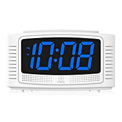 DreamSky Little Digital Alarm Clock with Snooze, 1.2 Inch Clear Led Digit Display with Dimmer, Simple to Operate, Plug in Clock for Bedroom. (White + Blue)