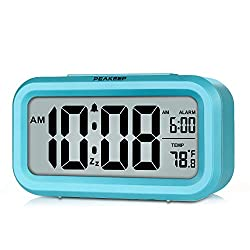 PEAKEEP Battery Operated Smart Night Light Digital Alarm Clock with Indoor Temperature, Blue