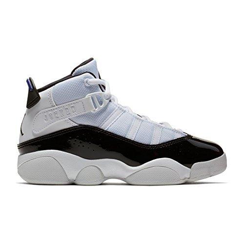 Nike PS Boys' Jordan 6 Rings Basketball Shoes White/Black-Dark Concord 2.5Y