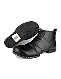 OTTO ZONE Leather Chukka Boots for Men Fashion Lace up Ankle Boots Casual Shoes by OZ-6015-2