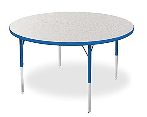 Marco Group 2200 Series Round Activity Table with Swivel Glides, Gray Glace Top/ Blue Edge and Blue Standard Legs, 48-Inch