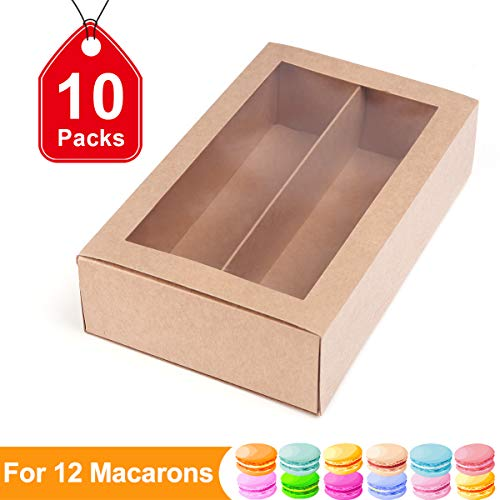 Macaron Boxes Macarons Boxes Macarons Box for 12 Macaron Container Macaroon Packaging Boxes with Clear Window (Kraft, 10 units pack)7.4 inch×4.1 inch×2 inch by PACKHOME ()