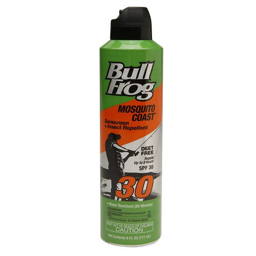 Bull Frog Mosquito Coast Continuous Spray Sunblock with Insect Repellent, SPF 30 6 oz (Pack of 2) (Bullfrog Sunscreen Bug Spray)
