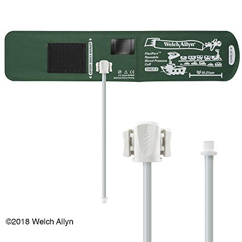 Welch Allyn FlexiPort Blood Pressure Cuff; Size-09 Child, Reusable, 1-Tube, Male Screw (#5082-164) Connector; Range 15-21 cm