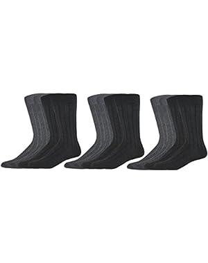 Men's Dress Wide Rib Crew Socks, 12 Pair