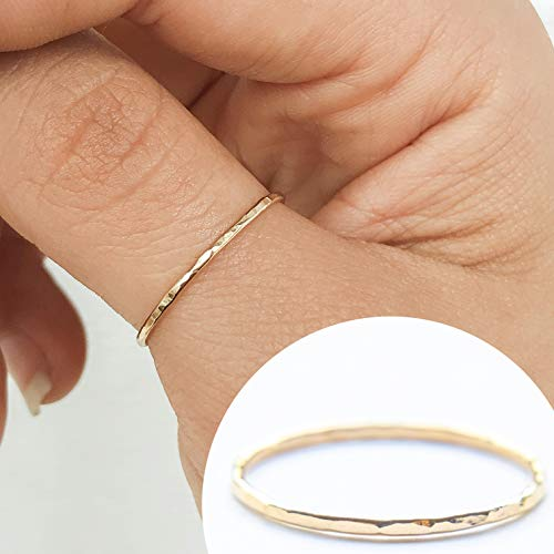 - Gold Filled Artisan Hammered (unisex) Stackable Ring Size 10