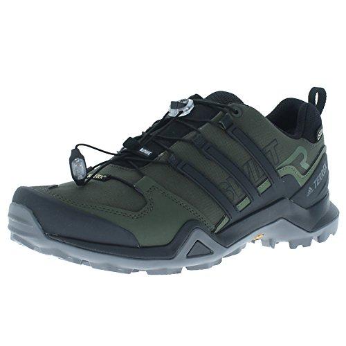 adidas Outdoor Terrex Swift R2 GTX Mens Hiking Boots, (Night Cargo, Black, & Base Green), Size 9
