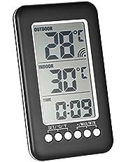 Staright LCD ℃ / ℉ Dijital Kablosuz Kapalı/Açık Termometre Vericili Saat Sıcaklık Ölçer
