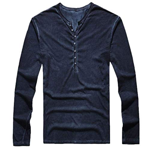 Easytoy Mens Vintage Solid Henley T-Shirts Long Sleeve Crew V Neck with Button Slim Fit Thermal Classic Cotton Tops (Navy, M)