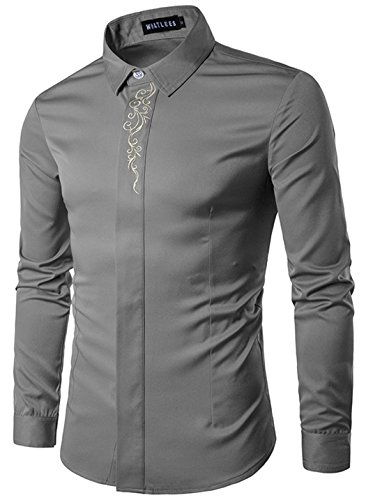 Retrograder Mens Fashion Designer Long Sleeve Embroidery Slim Button Down Dress Shirt B215-Grey-XL