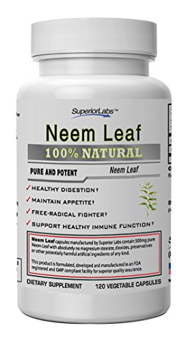 No. 1 Neem Leaf By Superior Labs - all Natural, 500mg, 120 Vegetable Capsules - Made in USA, Full Guarantee